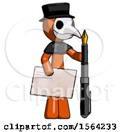 Orange Plague Doctor Man Holding Large Envelope And Calligraphy Pen