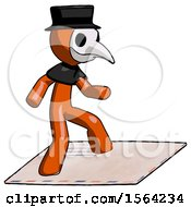Orange Plague Doctor Man On Postage Envelope Surfing
