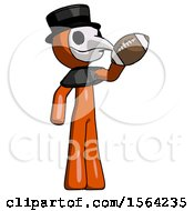 Orange Plague Doctor Man Holding Football Up
