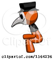 Orange Plague Doctor Man Squatting Facing Left