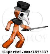 Orange Plague Doctor Man Stabbing With Ninja Sword Katana