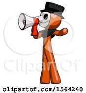Orange Plague Doctor Man Shouting Into Megaphone Bullhorn Facing Left