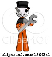 Orange Plague Doctor Man Holding Large Wrench With Both Hands