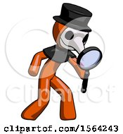Orange Plague Doctor Man Inspecting With Large Magnifying Glass Right
