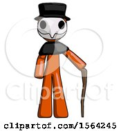 Orange Plague Doctor Man Standing With Hiking Stick