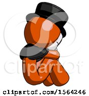 Orange Plague Doctor Man Sitting With Head Down Back View Facing Right
