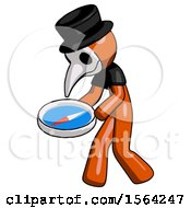 Orange Plague Doctor Man Walking With Large Compass