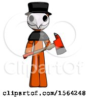 Orange Plague Doctor Man Holding Red Fire Fighters Ax
