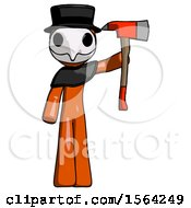 Orange Plague Doctor Man Holding Up Red Firefighters Ax