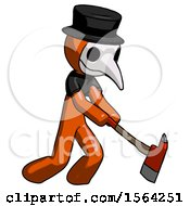 Orange Plague Doctor Man Striking With A Red Firefighters Ax