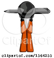 Orange Plague Doctor Man Head Impaled With Pen