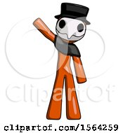 Orange Plague Doctor Man Waving Emphatically With Right Arm