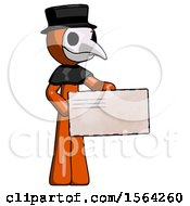 Orange Plague Doctor Man Presenting Large Envelope