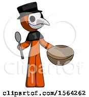 Orange Plague Doctor Man With Empty Bowl And Spoon Ready To Make Something