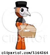 Orange Plague Doctor Man Holding Package To Send Or Recieve In Mail