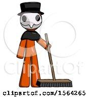Orange Plague Doctor Man Standing With Industrial Broom