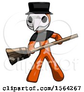 Orange Plague Doctor Man Broom Fighter Defense Pose