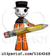 Orange Plague Doctor Man Writer Or Blogger Holding Large Pencil