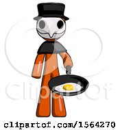 Orange Plague Doctor Man Frying Egg In Pan Or Wok