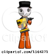 Orange Plague Doctor Man Holding Large Drill