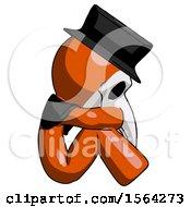 Orange Plague Doctor Man Sitting With Head Down Facing Sideways Right