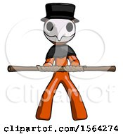 Orange Plague Doctor Man Bo Staff Kung Fu Defense Pose