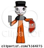 Orange Plague Doctor Man Holding Large Steak With Butcher Knife
