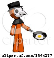Orange Plague Doctor Man Frying Egg In Pan Or Wok Facing Right