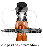 Orange Plague Doctor Man Weightlifting A Giant Pen