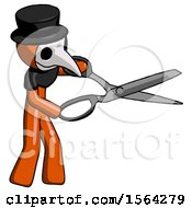 Orange Plague Doctor Man Holding Giant Scissors Cutting Out Something