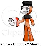 Orange Plague Doctor Man Holding Megaphone Bullhorn Facing Right