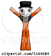 Orange Plague Doctor Man With Arms Out Joyfully