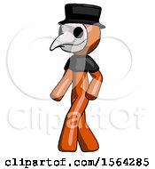 Orange Plague Doctor Man Man Walking Turned Left Front View