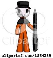 Orange Plague Doctor Man Holding Large Pen