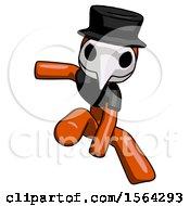 Orange Plague Doctor Man Action Hero Jump Pose