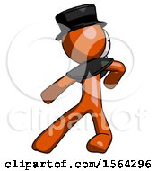 Orange Plague Doctor Man Karate Defense Pose Left