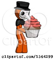 Orange Plague Doctor Man Holding Large Cupcake Ready To Eat Or Serve