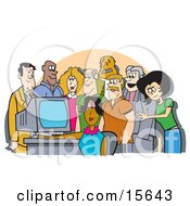 Group Of Office Employees Gathered Around A Computer For A Presentation Or To Watch Something Funny Clipart Illustration