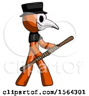 Orange Plague Doctor Man Holding Bo Staff In Sideways Defense Pose