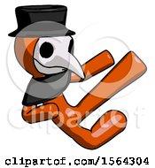 Orange Plague Doctor Man Flying Ninja Kick Right