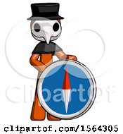 Orange Plague Doctor Man Standing Beside Large Compass