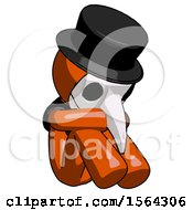 Orange Plague Doctor Man Sitting With Head Down Facing Angle Right