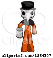 Orange Plague Doctor Man Begger Holding Can Begging Or Asking For Charity