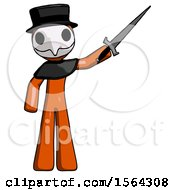 Orange Plague Doctor Man Holding Sword In The Air Victoriously