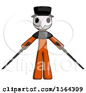 Orange Plague Doctor Man Posing With Two Ninja Sword Katanas