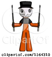 Orange Plague Doctor Man Posing With Two Ninja Sword Katanas Up