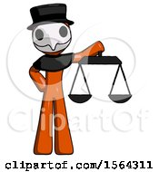 Orange Plague Doctor Man Holding Scales Of Justice