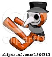 Orange Plague Doctor Man Flying Ninja Kick Left