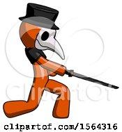 Orange Plague Doctor Man With Ninja Sword Katana Slicing Or Striking Something