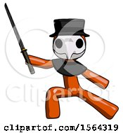 Orange Plague Doctor Man With Ninja Sword Katana In Defense Pose